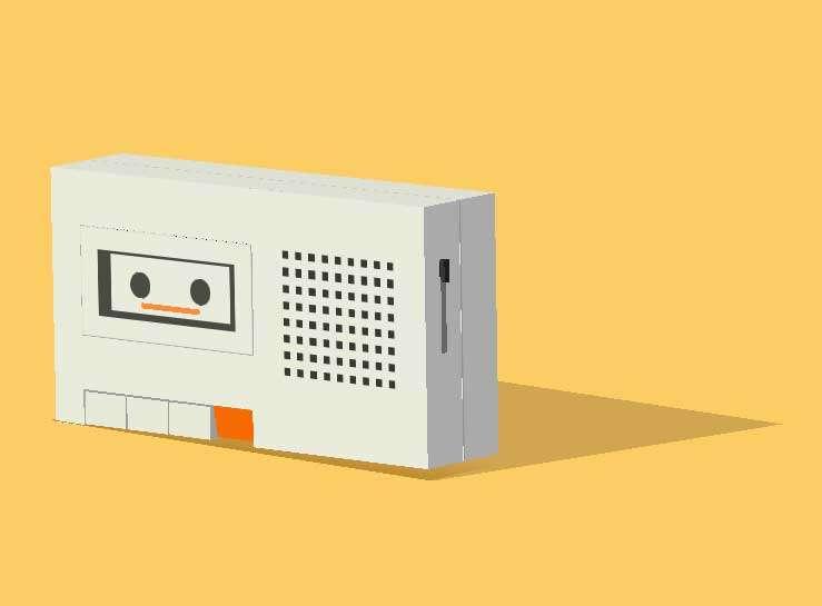 老式磁带录音机播放ui特效