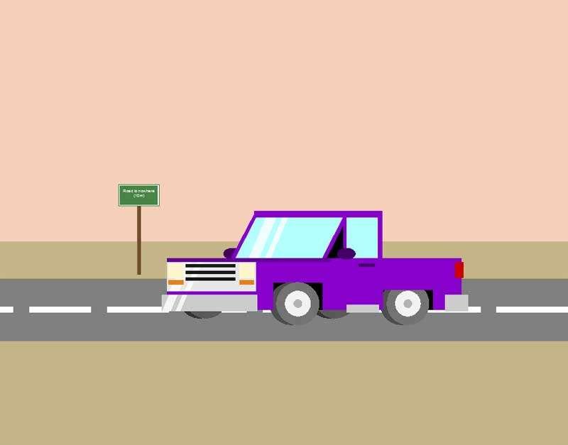 公路上行驶的汽车动画场景特效