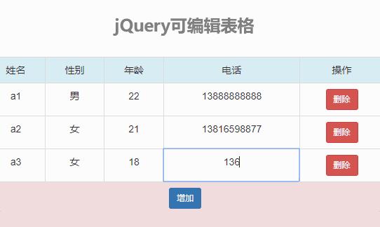 jQuery表格编辑添加删除行代码