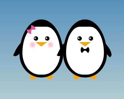 相亲相爱的企鹅图形特效
