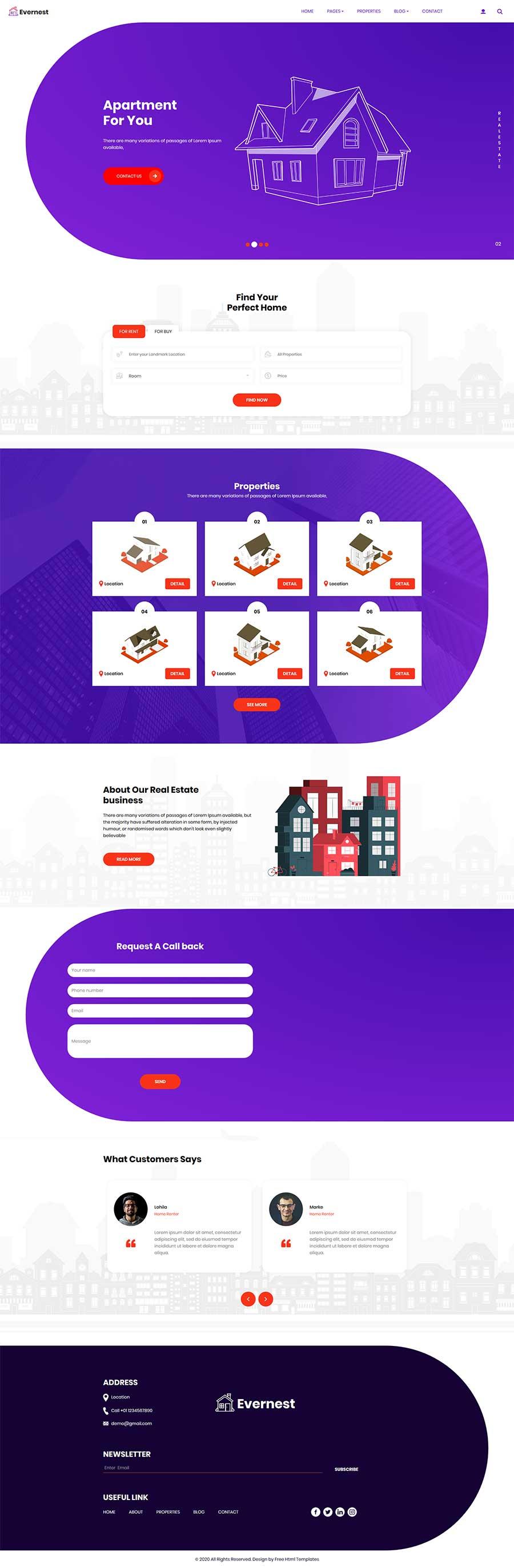 Bootstrap创意紫色房地产销售物业租赁公司网站模板