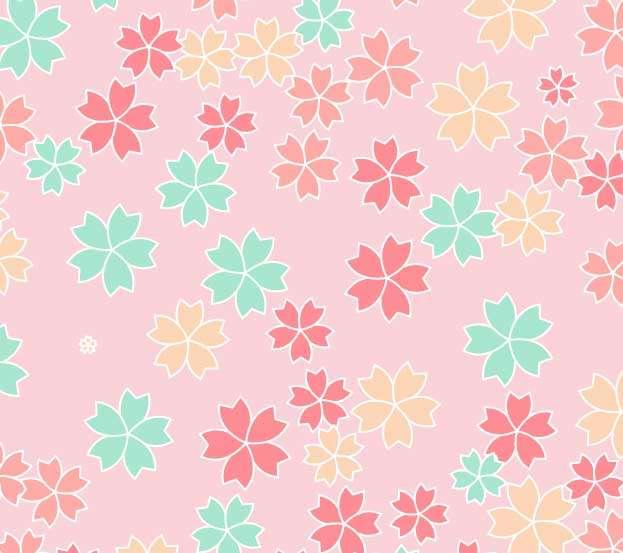 彩色的樱花图案背景特效
