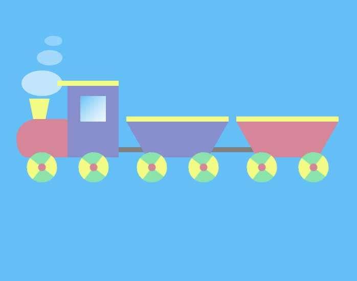 卡通的玩具火车ui动画特效