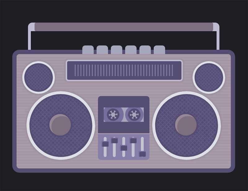 卡通录音机磁带转动特效
