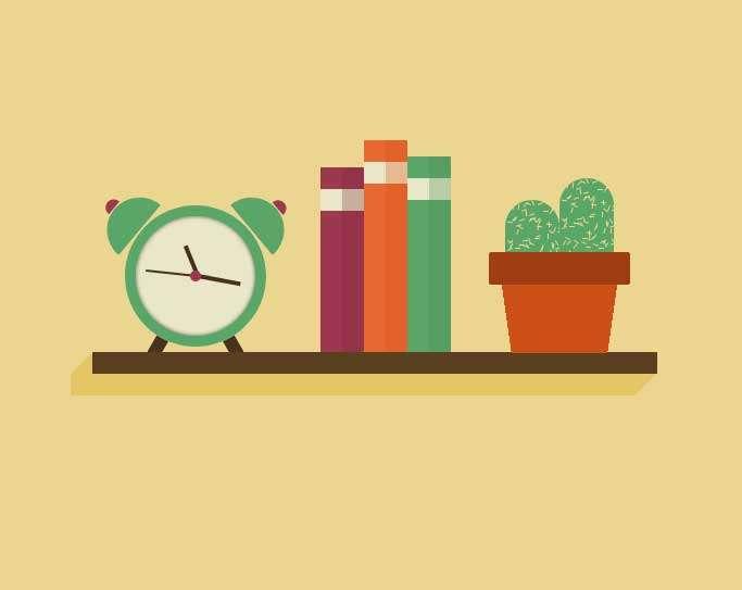 书架上的时钟图形特效
