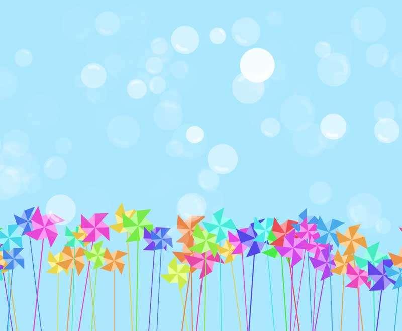 彩色的大风车泡泡动画特效