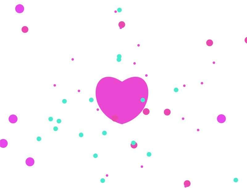 彩色的心跳粒子动画特效
