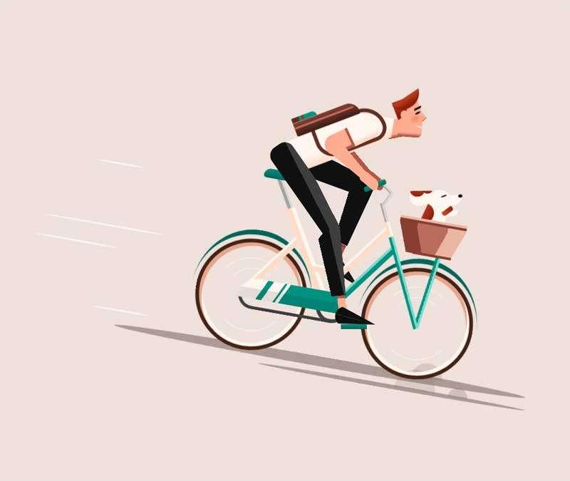 骑车单车的人物ui动画特效