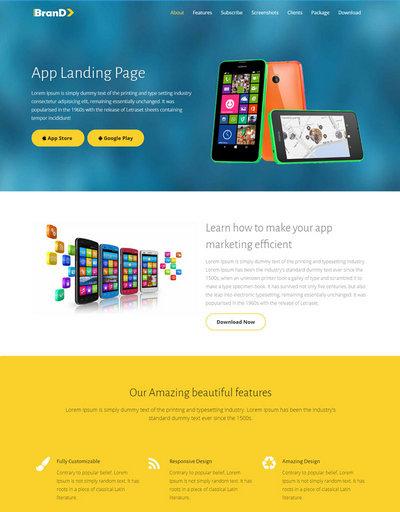 响应式电子产品手机app应用单页