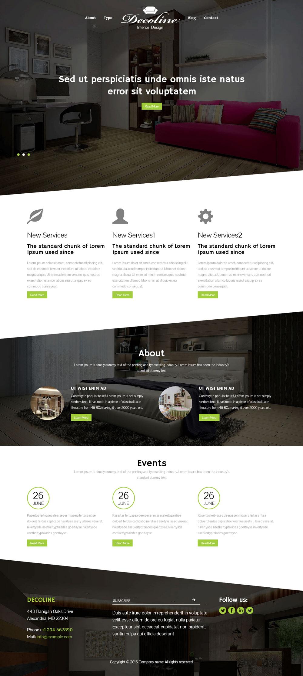 响应式室内家装设计类网站模板
