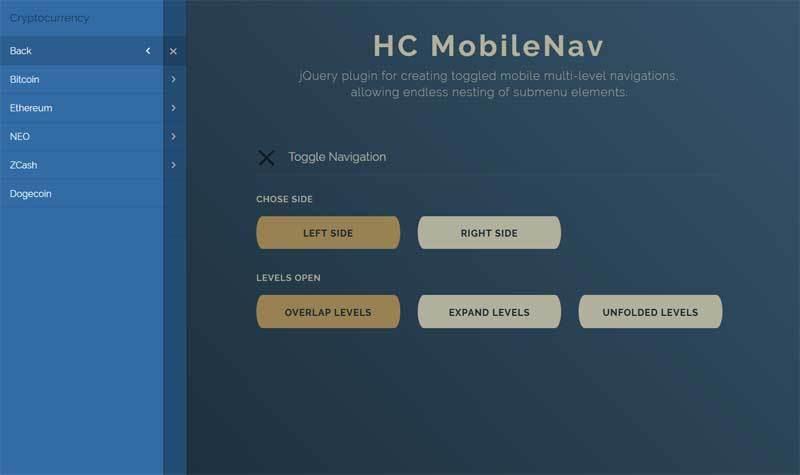 jQuery手机侧边滑动导航菜单代码