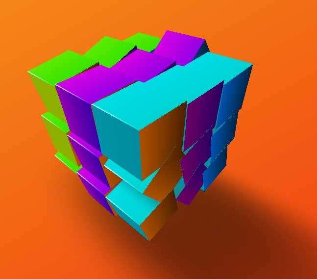 3D彩色魔方动画特效