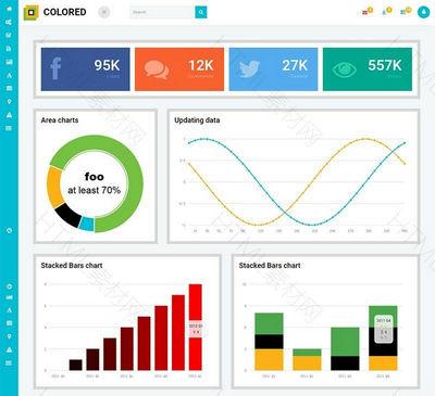 彩色管理面板类型扁平化响应Web模板后台管理模板