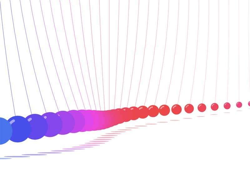 彩色的牛顿摆球ui动画特效