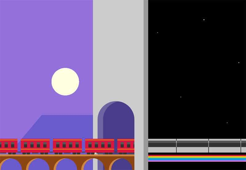 卡通的铁桥上火车行驶场景特效