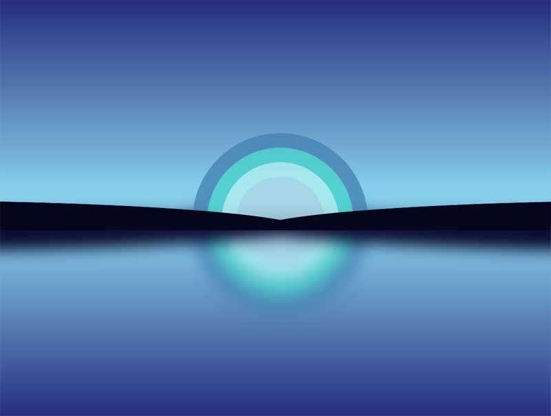 彩虹水面倒影图形特效