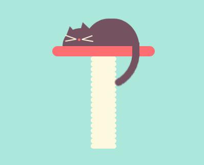 纯css3桌上睡觉猫咪动画特效