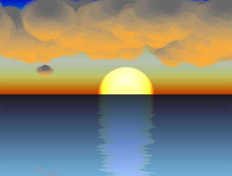 海边日落水面倒影动态背景特效