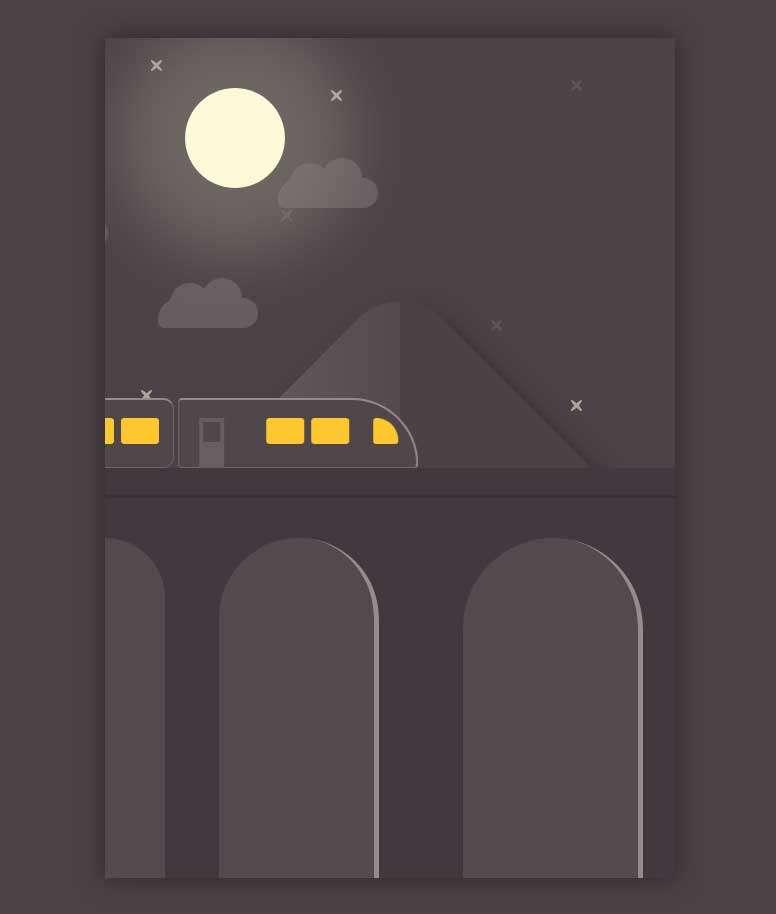 夜间行使的火车动画特效