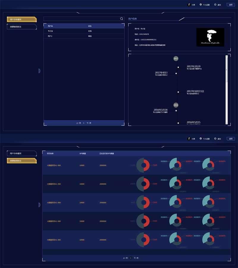 系统用户分布图表页面模板