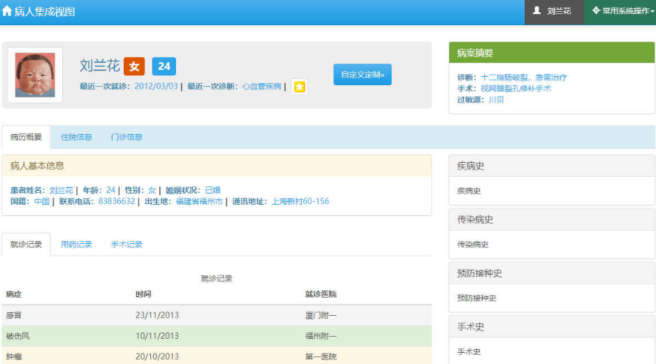 Bootstrap响应式医院病人病例管理系统模板
