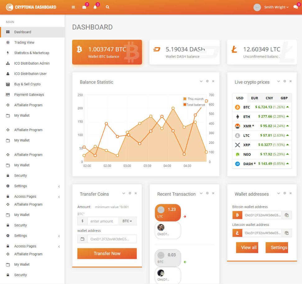 HTML5比特币货币交易后台管理响应式模板