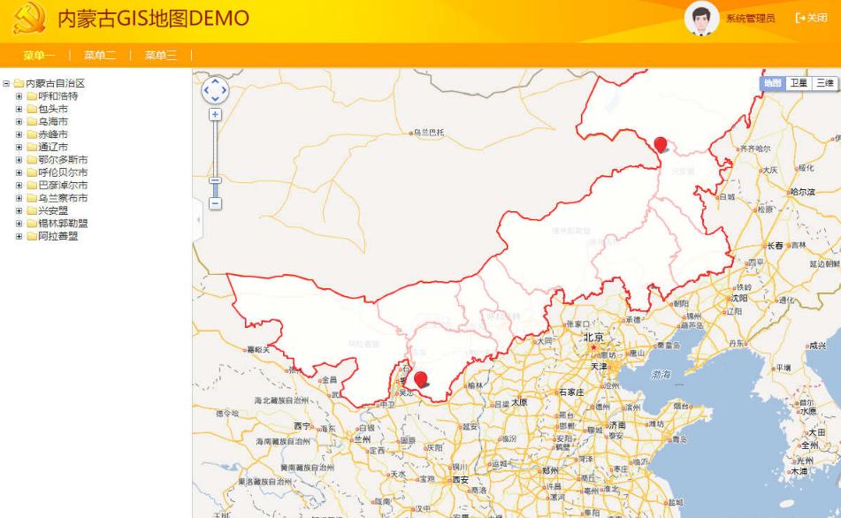 百度API省市GIS地图后台管理模板