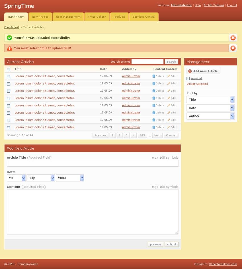 简洁的国外UI后台管理页面模板html源码下载