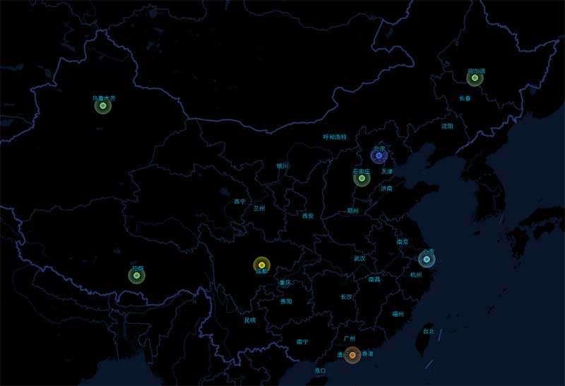 基于高德地图定位城市闪烁特效