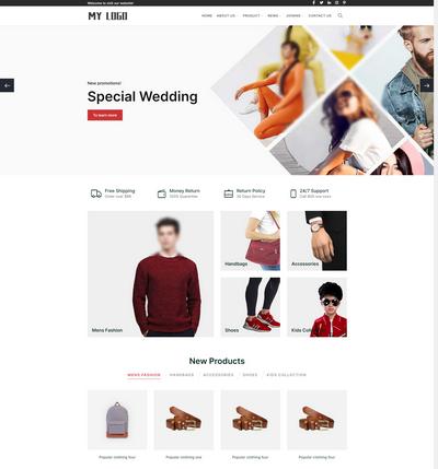 响应式英文外贸服装服饰织梦网站