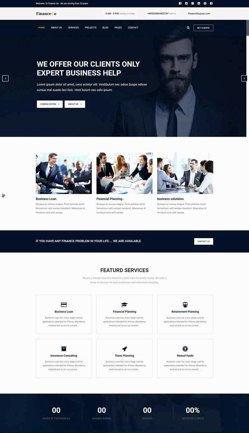 大气的商务金融咨询公司网站Html5模板
