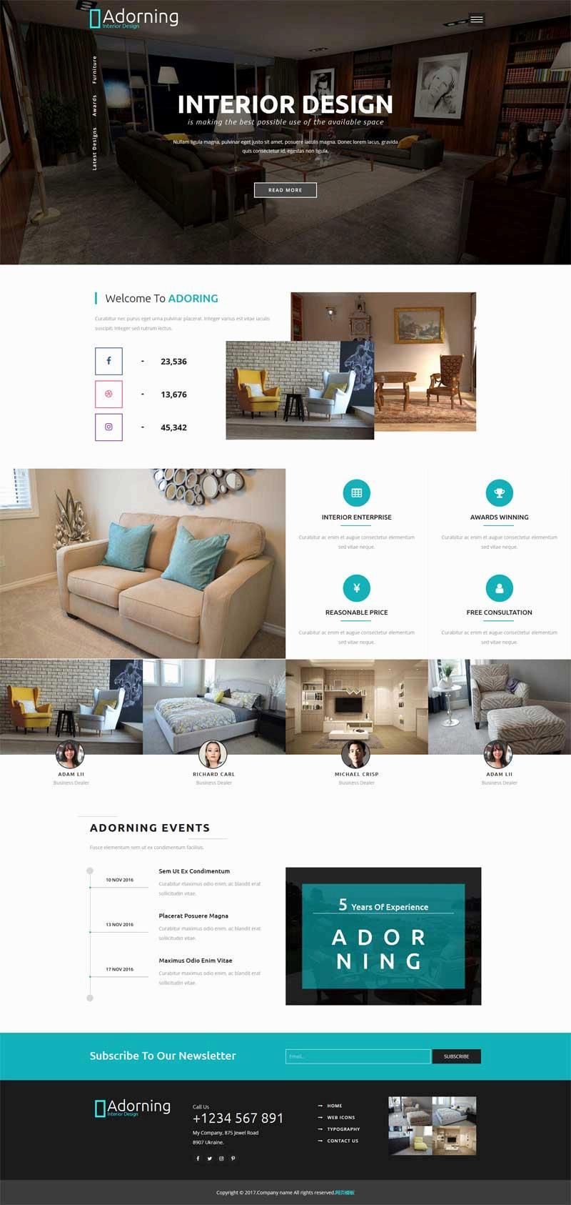 大气的室内设计公司网站静态模板