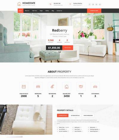 大气宽屏二手房销售网站html模板