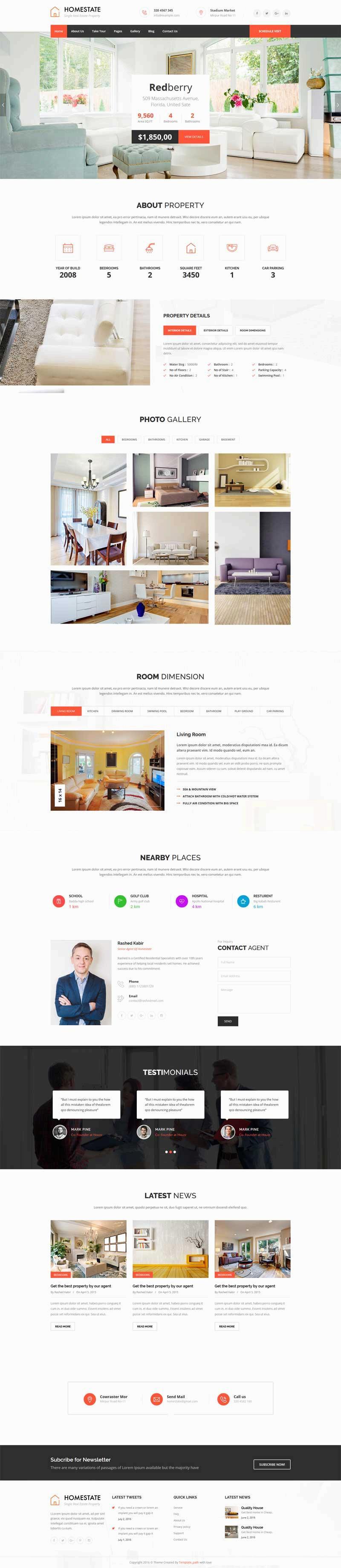 大气宽屏的二手房销售网站html模板