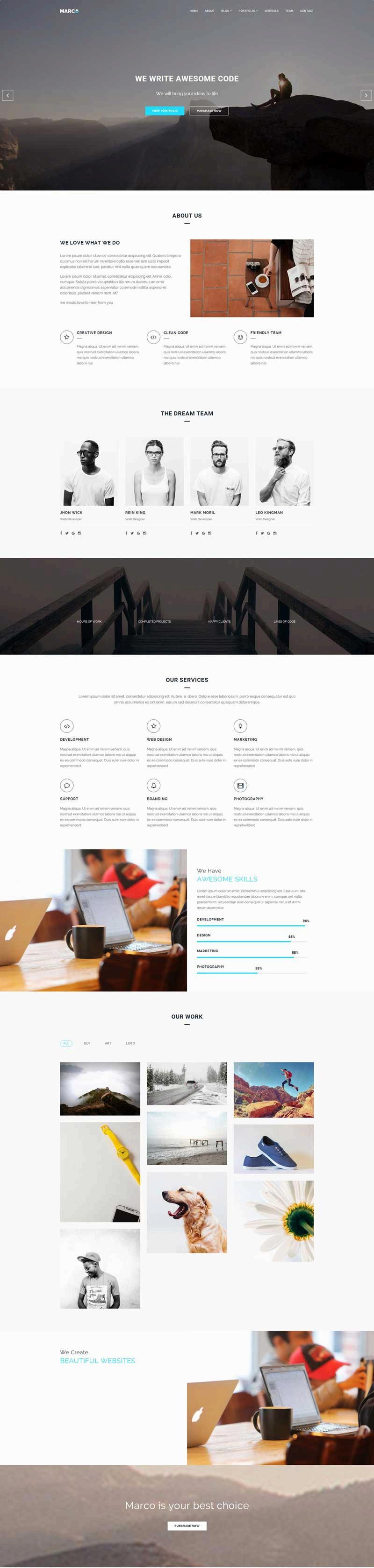 大气宽屏的网络科技公司网站html5模板