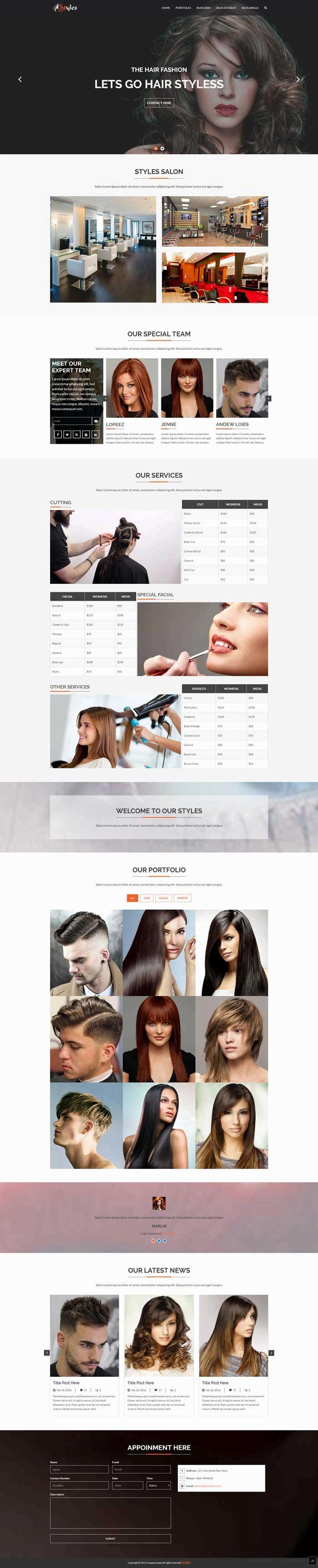 黑色的美容美发店网站模板