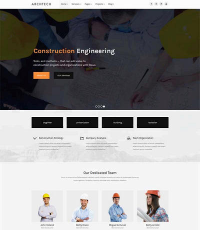 简约大气的建筑工程行业html网站