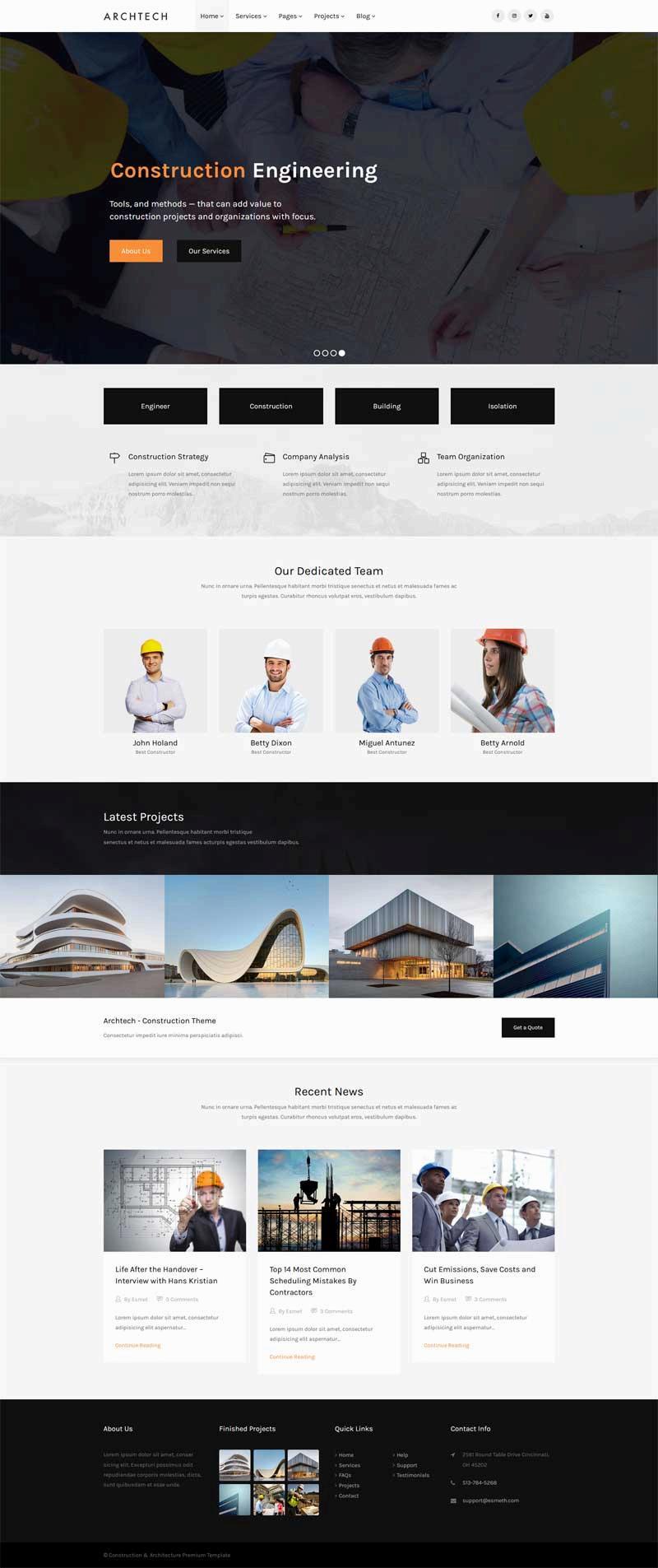 简约大气的建筑工程行业网站模板