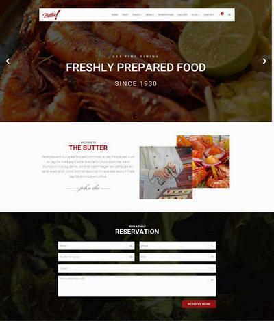宽屏餐饮美食行业网站html模板