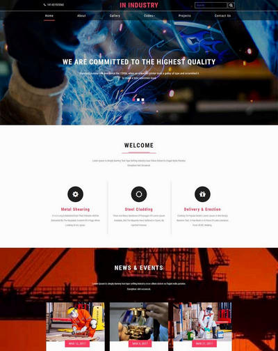 宽屏工业制造行业html静态网站模