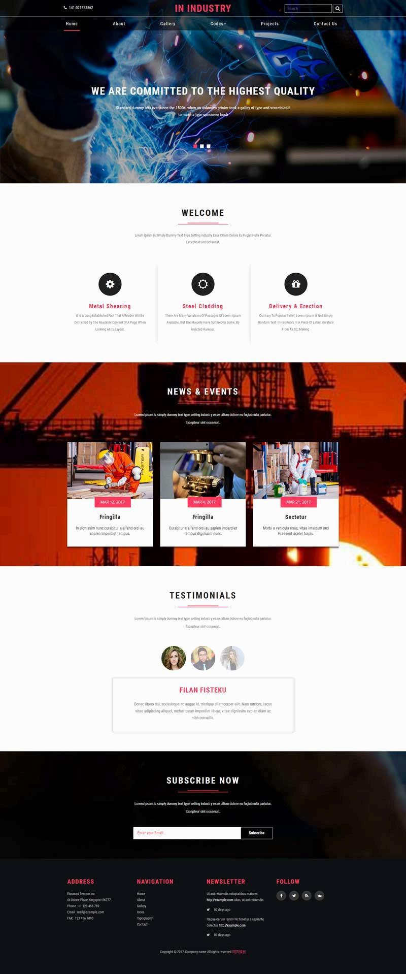 宽屏的工业制造行业网站模板