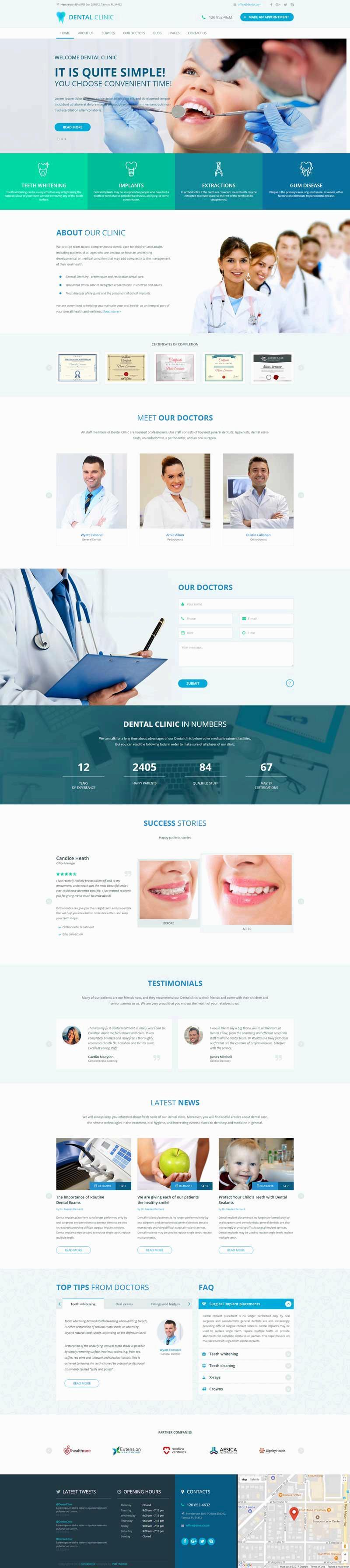 宽屏的牙科医院门诊网页模板