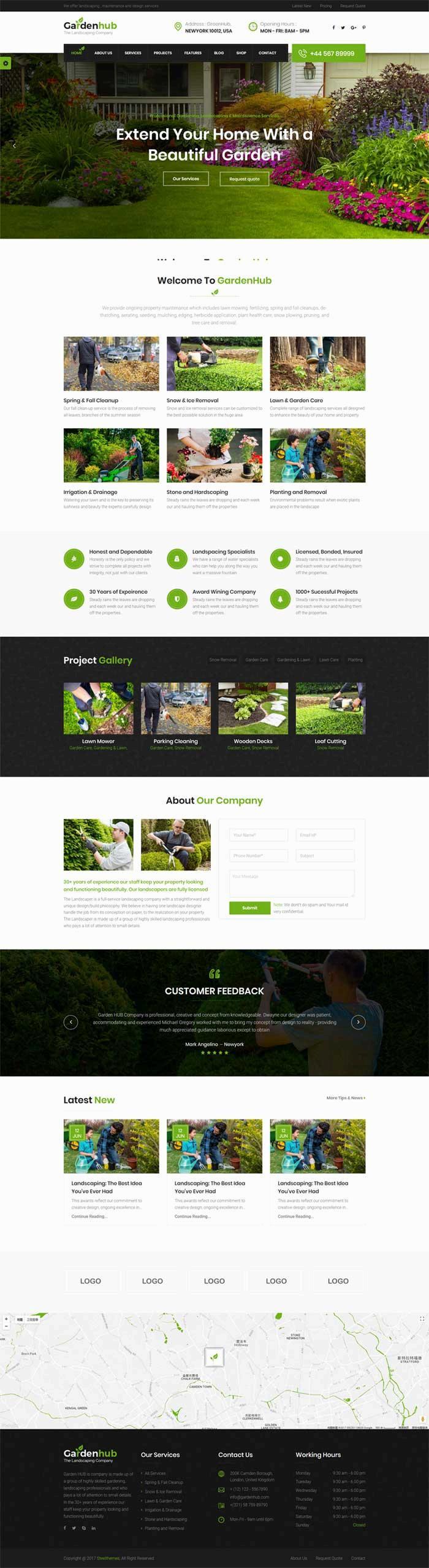 宽屏的园艺花园种植网站Bootstrap模板