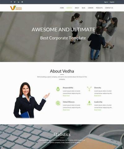 宽屏通用商务咨询公司网站html5模板