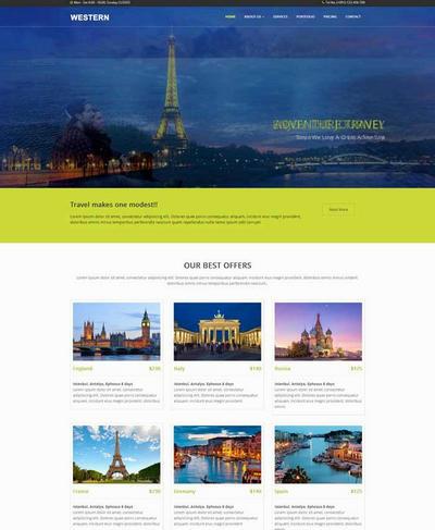 大气国外旅游攻略网站html模板