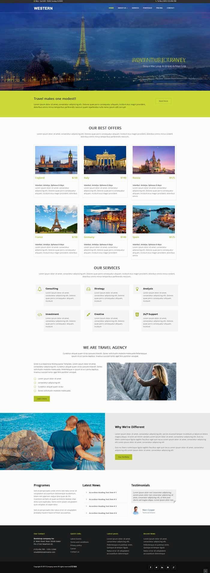 大气的国外旅游攻略网站html模板