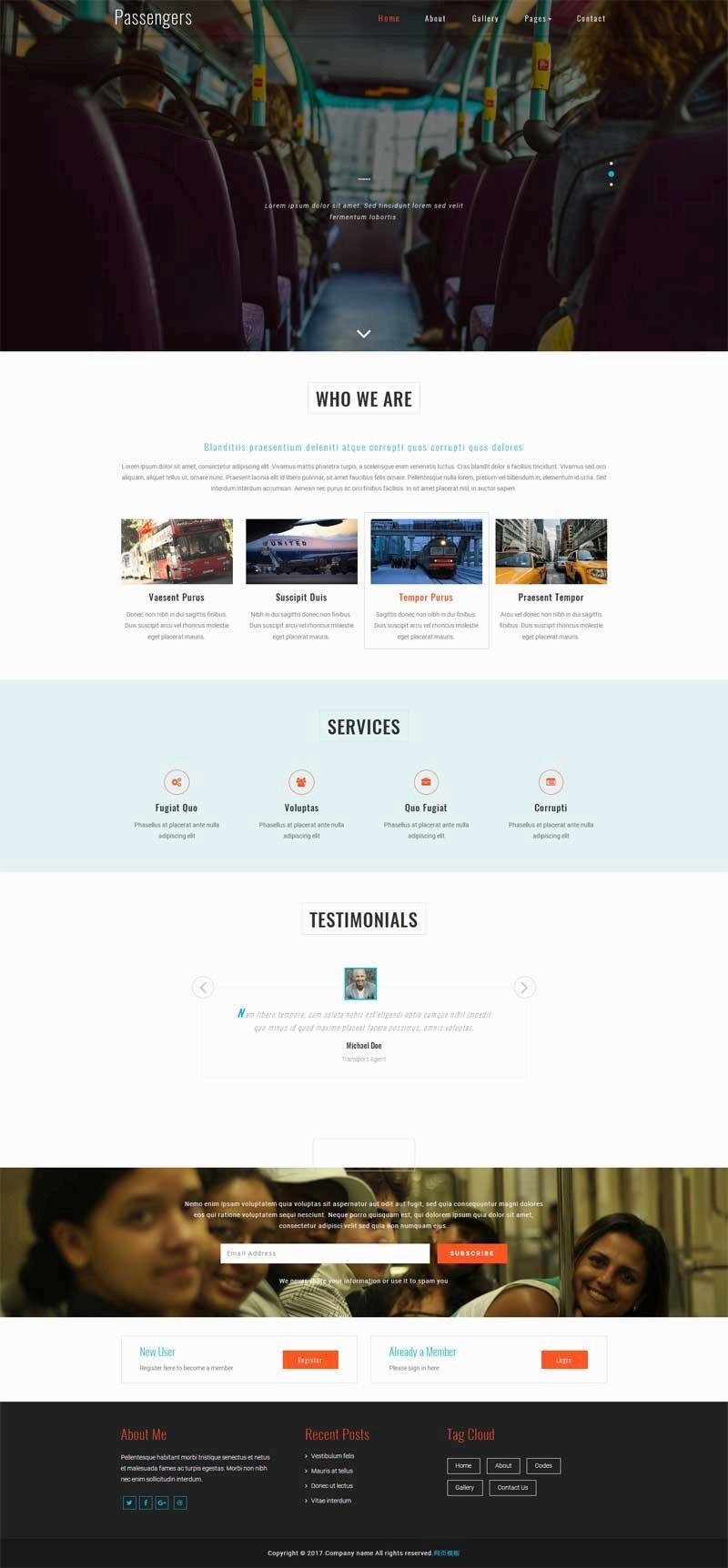 大气的公共汽车交通公司网站html模板