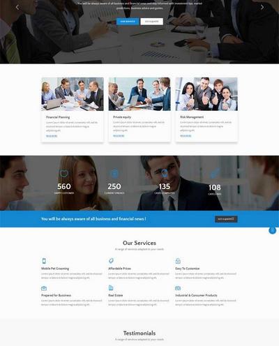 大气宽屏金融结算中心公司网站html5模板