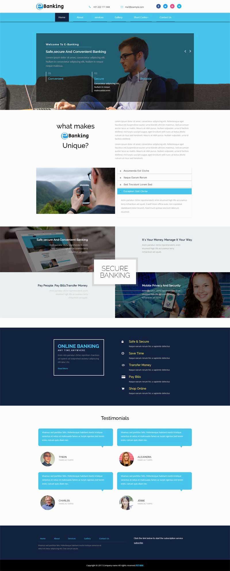 蓝色的在线电子银行公司介绍网站模板