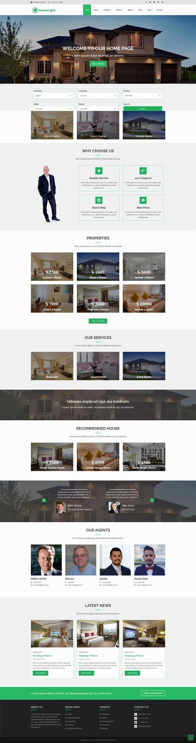 绿色的网上二手房销售出租网站模板